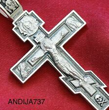 BIG CLASSICAL MENS RUSSIAN ORTHODOX ICON CROSS PENDANT, SILVER 925 NEW. BLESSED