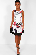 Womens Ladies New Floral Print White Party Evening Skater Dress Size 6 - 14