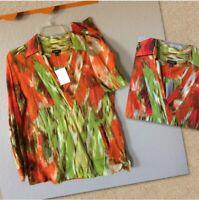 Talbots Womens Size 8 Tunic Blouse Orange Green NWOT