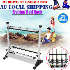 Portable Fishing Rod Rack Holder Stand 24 Slots Alloy Metallic Silver w/ Black G