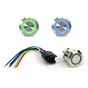 22mm LED GN Latching Billet Button /Wire Harness Johnny Law Motors truck