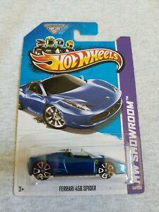 2013 Hot Wheels FERRARI 458 SPIDER Blue 151/250 EXCELLENT CARD