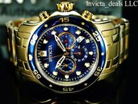 Invicta Men's 48mm Pro Diver SCUBA Chronograph Blue Dial 18KT Gold Plated Watch
