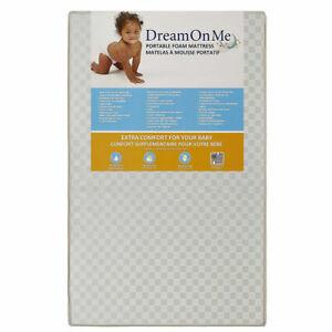 "Dream On Me 24 Portable 3"" Crib Mattress, White"