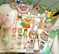 Vtg 70s GINGHAM GIRLS PAPER DOLLS:  SET OF FOUR DOLLS PLUS CLOTHES AND PROPS