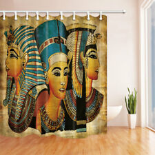 Egypt Queen and King Theme Waterproof Bathroom Fabric Shower Curtain & 12 Hooks