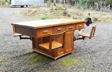 Rare Antique SHELDON Industrial Oak Desk Laboratory Table Partner Workbench