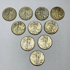 Estate Purchased (10) Piece Walking Liberty Half Dollar Coin Lot lots of luster