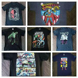 DC Marvel Comics 7 T-Shirt Lot! Superman Spider-Man Hulk Justice Kingpin!! Small