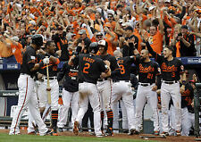 ORIOLES CELEBRATE AFTER DELMON YOUNGS TRIPLE TO SCORES HARDY FOR WIN 8 x10 !