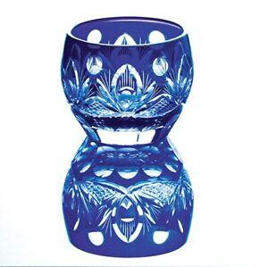 Japanese Collectible Edo Kiriko Cut Glass Azure Blue Lotus Sake Cup JAPAN MADE
