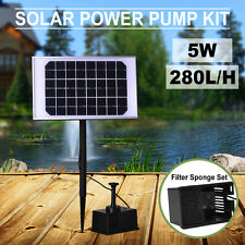 280L/H Solar Pump Pond Submersible Pool 5W Water Fountain with Filtering Sponge