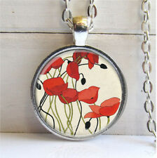 Vintage Cabochon Glass necklace flower poppy Silver Charm pendants