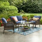 Outdoor Wicker Patio Furniture 4 Pc Garden Conversation Set Table Chairs New