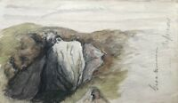Aquarell Impressionist um 1900 Studie Freiluft Skizze Felsenbrücke 23,5 x 14 cm