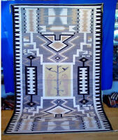 """Mint 111"""" x 67"""" Room-Sized Navajo Two Bears Tree of Life Storm Pattern Rug Rare!"""