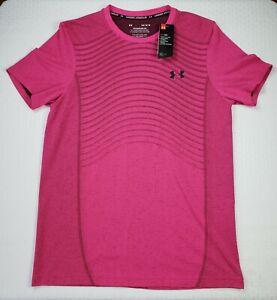 NWT Men's Under Armour Seamless Wave HeatGear Short Sleeve T-Shirt Pink Large