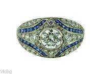 Antique 1930s Art Deco 2Ct. Diamond & Sapphire Mosaic Ring in Pierced Platinum