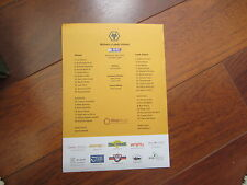 2014-15 CHAMPIONSHIP  WOLVERHAMPTON v  LEEDS UNITED  v OFFICIAL    TEAM SHEET