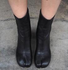 Womens Split Toe Leather Mid-Calf Boots Block High Heel Black Zipper Shoes Pumps