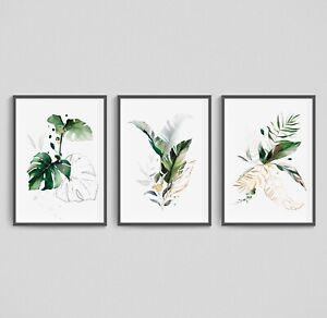 Monstera Wall Art Botanical Print Set of 3 Fern Leaf Palm Green Leafy Home Decor