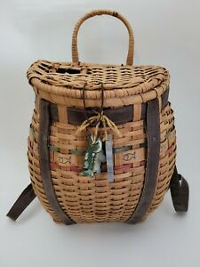 Vtg Straw Wicker Trout Fly Fishing Creel Fish Basket Backpack Adirondack Used