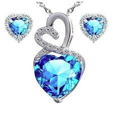 Sterling Silver Created Blue Topaz Lovely Heart Pendant Necklace Earring Set