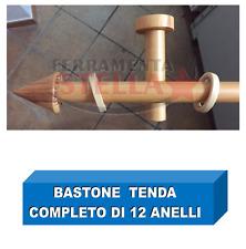 BASTONE PER TENDA LEGNO CM 250 VERNICIATO OPACO ATTACCHI ANELLI  TERMINALE CONO