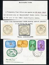 FIJI 1963 SOUTH PACIFIC GAMES FDC SCARCE BUCKHURST PARK TEMP.P.O + TRIAL CANCELS