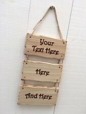Handmade Personalised Rustic Wooden Design Your Own Sign Plaque 20cm x 10cm 3pc