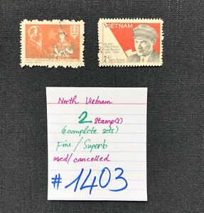 North Vietnam stamps, 2 Used/Cancelled Stamps, SCV 2009=$4.90, #1403