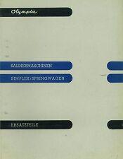 Ersatzteilkatalog Olympia Saldiermaschine Simplex Springwagen Rechenmaschine 296