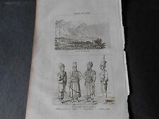 1836 STEEL ENGRAVING GREECE DELPHI PARNASSUS TURKISH TROOPS ARTILLERY