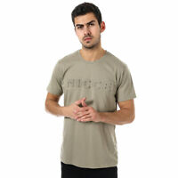 Mens Nicce Embossed T-Shirt In Green- Short Sleeve- Ribbed Collar- Tonal