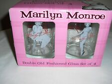 Set of 4 Marilyn Monroe Pin Up Double Old Fashioned Glass - Bernard of Hollywood