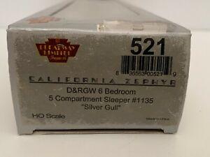 HO Scale Broadway Limited BLI California Zephyr DRGW 6-5 Sleeper Silver Gull