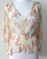 Rugby Ralph Lauren Silk Floral Button Front Sheer Blouse Peasant Top Sz - 4