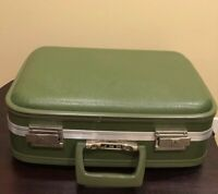 "Vintage Vinyl Suitcase Small Olive Green Hard Sided Carry-On 1960s 17x12"" JMB"