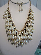 Victorian Style Cream Faux Pearl Drops Gold Tone Link Necklace Earring Set