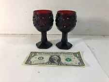 Avon Vintage Cape Cod Ruby Red Glass Wine Chalice Goblet ~ 4 oz.