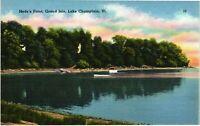Vintage Postcard - Linen Hyde's Point Lake Champlain Vermont VT#4803