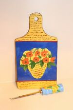 Centrum Hand Painted Ceramic Cheese Board And Knife Set Flowers Blue Poppy