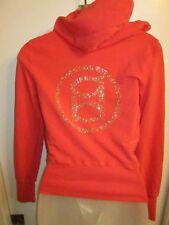 Bebe XS Jacket Hoodie Rhinestone Crystal Logo Studded Gold Coral Shiny CHIC