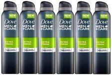 6 x Dove Men Plus Care Extra Fresh Aerosol Anti-Perspirant Deodorant Spray 250ml
