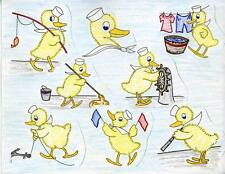 Vintage Embroidery Transfer repo Navy Ducks for Towels Cloths Scarfs Potholders