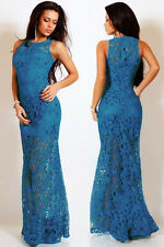 NEW CLASSY BLUE FLORAL LACE ZIP UP MAXI EVENING PARTY GOWN DRESS SIZE 8 10 12 UK