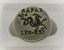 Ancient Roman Bronze Silvered Legionary Seal Ring Leg Xxi Rapax