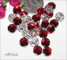 15 Swarovski Ss30 LT Siam Red Vintage Rose MONTEES Sew on Crystals 30ss Light