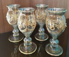 Egyptian Handmade Blown Etched & Decorated Glasses – Vintage Inspired Set of 4