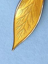 Rare Mid Century DAVID ANDERSON Yellow Enamel LEAF BROOCH Sterling Silver NORWAY